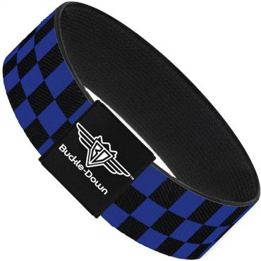 Buckle-Down Elastic Bracelet - Checker Black/Neon Blue
