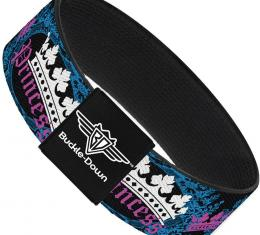 Buckle-Down Elastic Bracelet - Crown Princess Oval Black/Turquoise