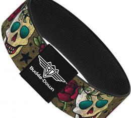 Buckle-Down Elastic Bracelet - Death Before Dishonor C/U Olive