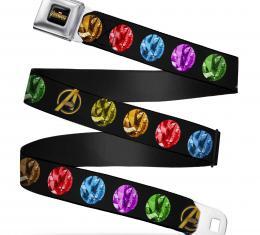 AVENGERS: INFINITY WAR  AVENGERS INFINITY WAR Logo Full Color Black/Golds Seatbelt Belt - Avengers Icon/6-Infinity Stones Black/Gold/Multi Color Webbing