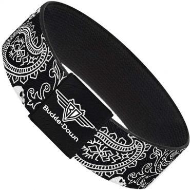 Buckle-Down Elastic Bracelet - Bandana/Skulls Black/White
