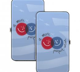 Hinged Wallet - A MORE PERFECT UNION/Smiley Faces Blues/Gray/Red/White