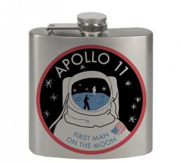 Stainless Steel Flask - 6 OZ - APOLLO 11-FIRST MAN ON THE MOON Black/White/Red/Blues
