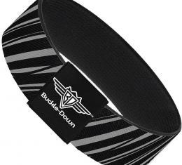 Buckle-Down Elastic Bracelet - Diagonal Stripes Scribble Gray/Black