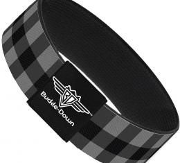 Buckle-Down Elastic Bracelet - Buffalo Plaid Black/Gray