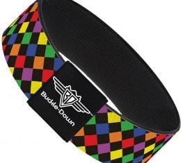 Buckle-Down Elastic Bracelet - Diamonds Black/Multi Neon