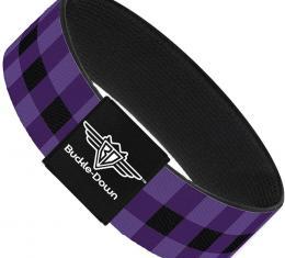 Buckle-Down Elastic Bracelet - Buffalo Plaid Black/Purple
