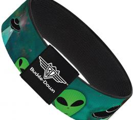 Buckle-Down Elastic Bracelet - Aliens & UFO's Galaxy/Green/Black/White