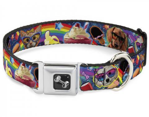 Buckle-Down Seatbelt Buckle Dog Collar - Pets & Snacks Rainbow Collage