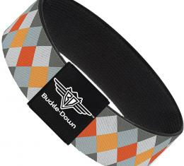 Buckle-Down Elastic Bracelet - Diamond Plaid Grays/Orange