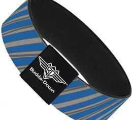 Buckle-Down Elastic Bracelet - Diagonal Stripes Scribble Gray/Blue