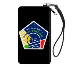 Canvas Zipper Wallet - SMALL - INTERNATIONAL SPACE STATION Pentagon Black/White/Multi Color