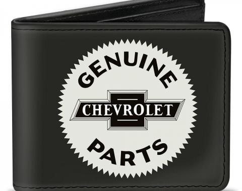 Bi-Fold Wallet - 1920 GENUINE CHEVROLET PARTS Seal Charcoal/Tan