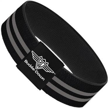 Buckle-Down Elastic Bracelet - Stripe Black/Gray