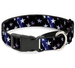 Plastic Martingale Collar - American Flag Vivid Stars Blue/White