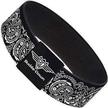 Buckle-Down Elastic Bracelet - Floral Paisley2 Black/White