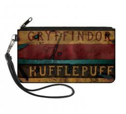 Canvas Zipper Wallet - SMALL - GRYFFINDOR & HUFFLEPUFF Burnt Banners
