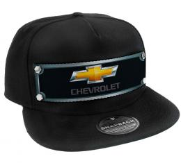 Embellishment Trucker Hat BLACK - Full Color Strap - CHEVROLET Gold Bowtie Grays/Black/Gold
