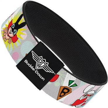 Buckle-Down Elastic Bracelet - Bunny Superhero Multi Pastel