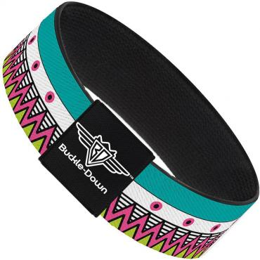 Buckle-Down Elastic Bracelet - Aztec 14 Seafoam Green/White/Pink/Lime Green/Black