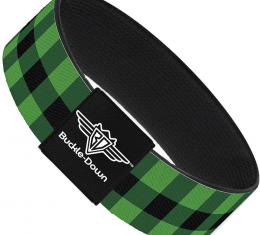Buckle-Down Elastic Bracelet - Buffalo Plaid Black/Neon Green