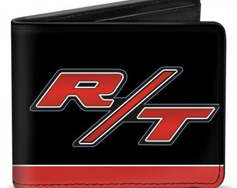 Bi-Fold Wallet - Dodge Challenger R/T Emblem/Stripe Black/Blue/White/Red
