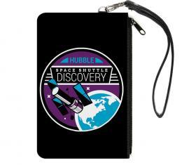 Canvas Zipper Wallet - LARGE - SPACE SHUTTLE DISCOVERY Hubble Telescope Black/White/Purple/Blue