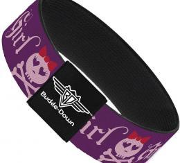 Buckle-Down Elastic Bracelet - Angry Girl Purple/Pink