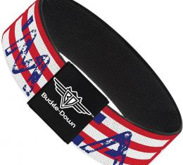 Buckle-Down Elastic Bracelet - MERICA Stripes/Stars Red/White/Blue