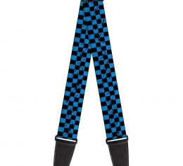 Guitar Strap - Checker Weathered Black/Turquoise
