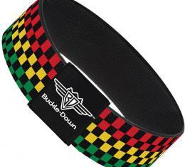 Buckle-Down Elastic Bracelet - Checker Black/Rasta