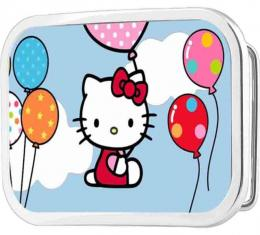Hello Kitty in Clouds Holding Balloons Framed FCG - Chrome Rock Star Buckle