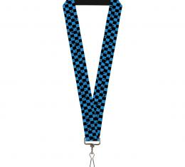 Buckle-Down Lanyard - Checker Weathered Black/Turquoise