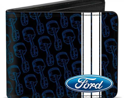 Bi-Fold Wallet - FORD Oval/Stripe/Piston Repeat Black/Blue/White
