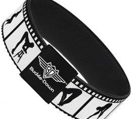 Buckle-Down Elastic Bracelet - Girls Posing Film Strip White/Black