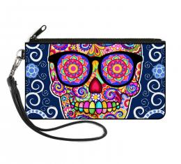 Canvas Zipper Wallet - LARGE -  Hipster Calavera C/U Blue/White/Multi Color