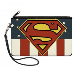 Canvas Zipper Wallet - LARGE - Superman Shield Americana Red/White/Blue/Yellow