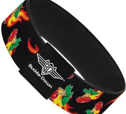 Buckle-Down Elastic Bracelet - Flaming Cherries Scattered Black