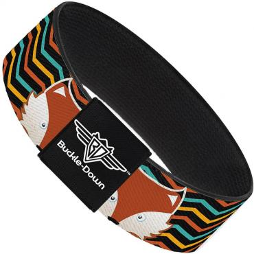 Buckle-Down Elastic Bracelet - Fox Face/Stripes Black/Multi Color