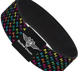 Buckle-Down Elastic Bracelet - Dog Bone Black/Multi Color