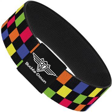 Buckle-Down Elastic Bracelet - Checker Black/Multi Neon