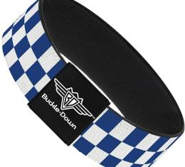 Buckle-Down Elastic Bracelet - Checker BlueKU/White