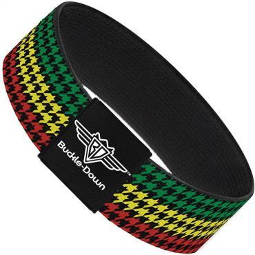 Buckle-Down Elastic Bracelet - Houndstooth Black/Rasta