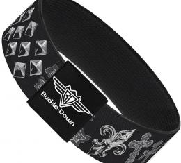 Buckle-Down Elastic Bracelet - Elegant Crosses/Stars/Studs Black/Grays