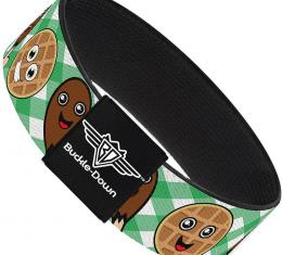 Buckle-Down Elastic Bracelet - Fried Chicken & Waffles Plaid White/Green