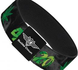 Buckle-Down Elastic Bracelet - 420/Pot Leaf Black/Smoke/Green
