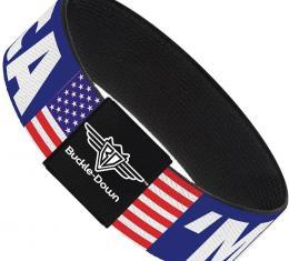 Buckle-Down Elastic Bracelet - MERICA/US Flag Blue/White/Red