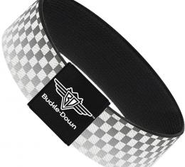 Buckle-Down Elastic Bracelet - Checker Black/White Fade Out