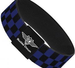 Buckle-Down Elastic Bracelet - Checker Black/Blue