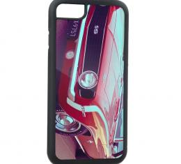Rubber Cell Phone Case - BLACK - 1969 Red Chevy Camaro SS Front/Side View FCG